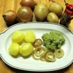 Röstzwiebeln und Kartoffeln