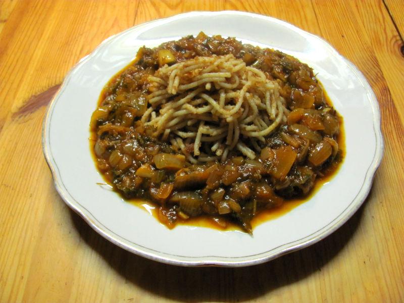 Semmelkrume Spaghetti mit Zwiebel Ingwersoße